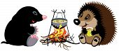 cartoon mole and hedgehog preparing food on campfire in wild camping, isolated image for little kids poster