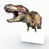 Computer generated 3D illustration with the Dinosaur Tyrannosaurus Rex and an Advertising Sign poster