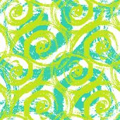 Vector seamless hand painted pattern with bold brush strokes waving and swirling in bright lime green, aqua blue and white colors. poster