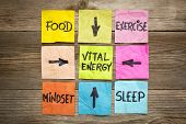 vital energy concept - food, exercise, mindset and sleep handwritten on colorful sticky notes poster