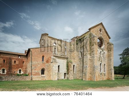Cistercian convent built in the 12th-century, 30 km southwest of the city of Siena, Tuscany, Italy