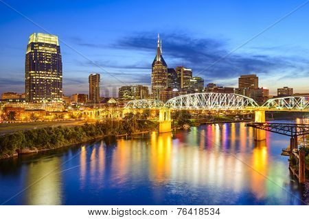 Nashville, Tennessee, USA downtown skyline on the Cumberland River.