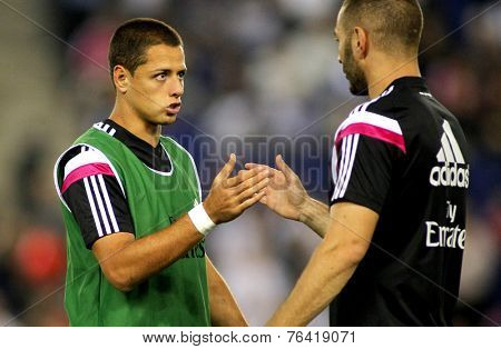 BARCELONA - OCT, 20: Javier Chicharito Hernandez of Real Madrid before the Spanish Kings Cup match against UE Cornella at the Estadi Cornella on October 29, 2014 in Barcelona, Spain