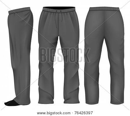 Men's sweatpants black. Vector illustration.