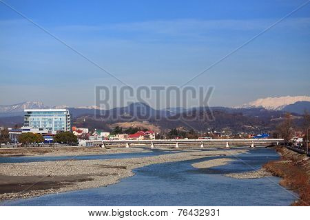 river Mzymta in Adler, the southest district of Sochi, Russia poster