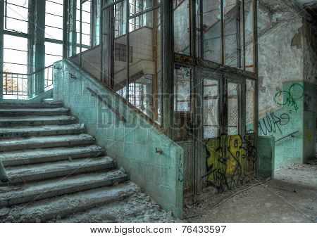 Old Elevator In An Abandoned Hospital In Beelitz