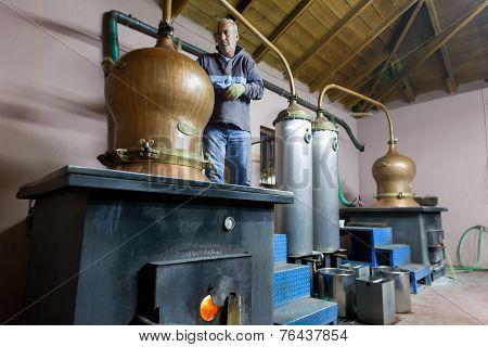 Traditional Distillation Of Alcohol And Production Of Homemade Tsipouro/raki