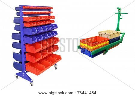 tool boxes on the mobile stand and loader