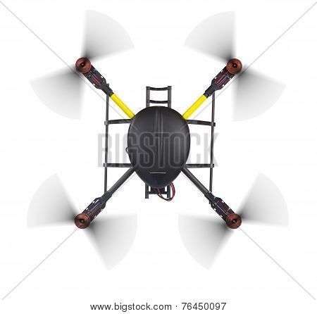 Top View Of A Flying Quad On White.
