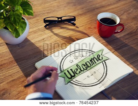 Man with Note Pad and Welcome Concept