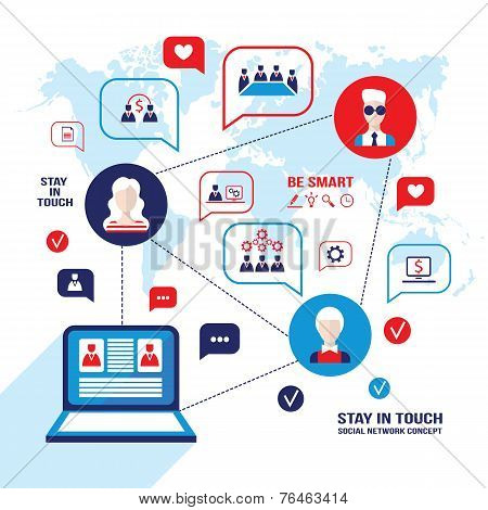 Social Network And Communication Concept  People Avatars Laptop Computer  Business Icons