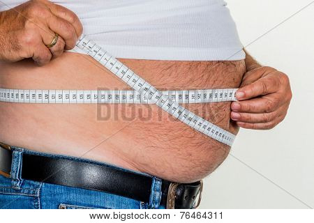 man with overweight. photo icon for beer belly, unsuccessful dieting and poor nutrition.