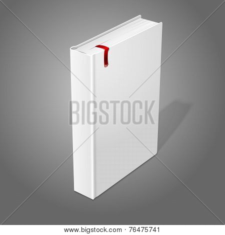 Realistic standing white blank hardcover book with red bookmark. Isolated on grey background for des
