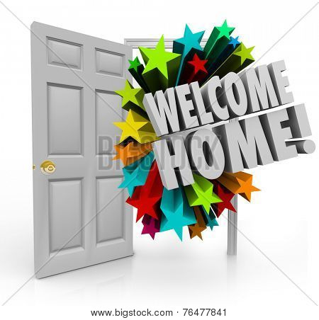 Welcome Home message in 3d words out an open door as a greeting or celebration for your return or homecoming