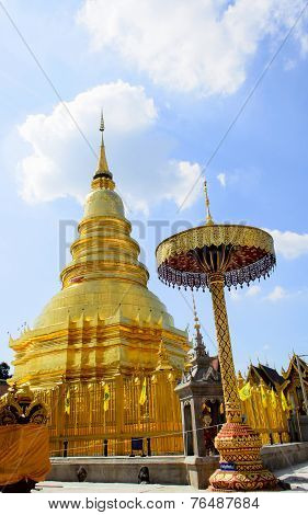 Golden Pagoda And Blue Sky