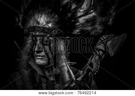 tribal Native, American Indian chief with big feather headdress