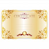 Vector royal certificate with lace pattern on gold background poster