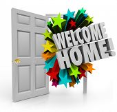 Welcome Home message in 3d words out an open door as a greeting or celebration for your return or homecoming poster