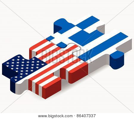 Usa And Greece Flags In Puzzle
