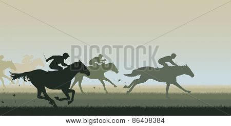 EPS8 editable vector cutout illustration of a horse race with all horses and riders as separate objects poster