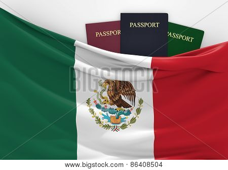 Travel and tourism in Mexico, with assorted passports