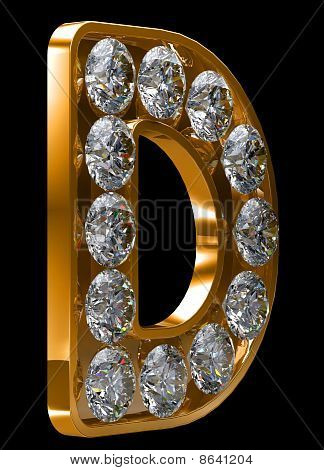 Golden D Letter Incrusted With Diamonds