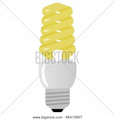 Vector illustration of light bulb on white background