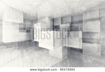 Chaotic Cubes Structure. 3D Render With Texture