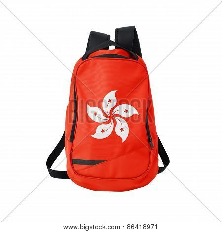 Hong Kong flag backpack isolated on white background. Back to school concept. Education and study abroad. Travel and tourism in Hong Kong poster