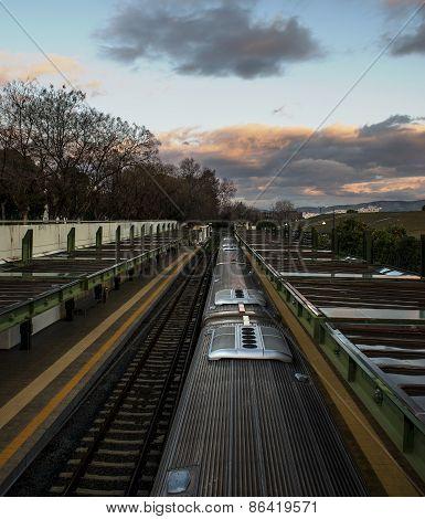 Train In Metro Station On Sunrise