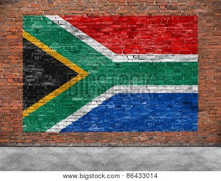 Flag Of Republic Of South Africa And Foreground