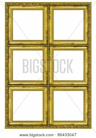 Giant golden frame containing six quadrats isolated on white background poster