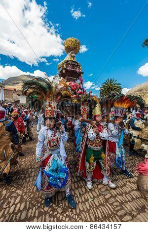 Pisac, Peru - July 16, 2013: Peruvian folklore at Virgen del Carmen parade in the Peruvian Andes at Pisac Peru