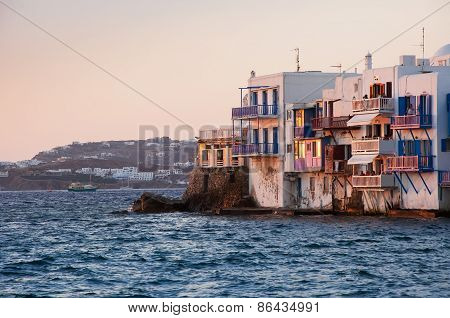 Little Venice At Sunset On Mykonos Island In The Mediterranean Sea. Greece.