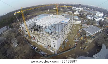 MOSCOW, RUSSIA - MAR 23, 2014: Aerial view of construction aquapark with seaquarium.