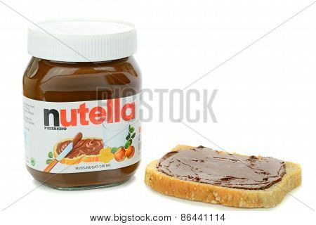 A glass jar of Ferrero Nutella chocolate spread