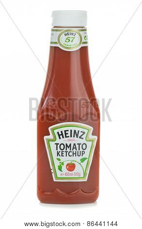 A plastic bottle of Heinz Tomato Ketchup Sauce