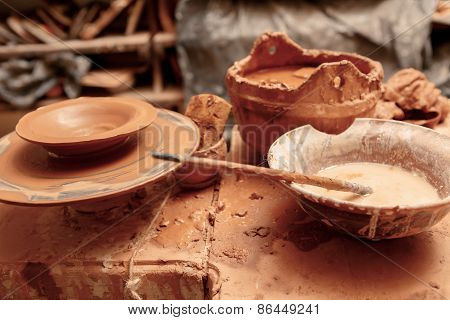 Pottery tools on the table