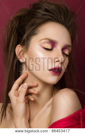 Beauty Portrait Of Young Brunette Woman With Modern Salon Makeup
