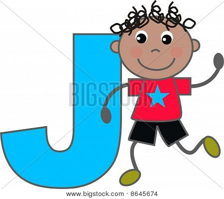 a boy with letter J