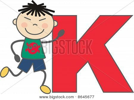 a boy with letter K