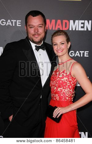 LOS ANGELES - MAR 25:  Michael Gladis, Beth Behrs at the Mad Men Black & Red Gala at the Dorthy Chandler Pavillion on March 25, 2015 in Los Angeles, CA