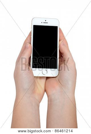 Plzen,Czech Republic - October 11, 2014 : Woman Hands Holding Apple iPhone 5S Smart Phone
