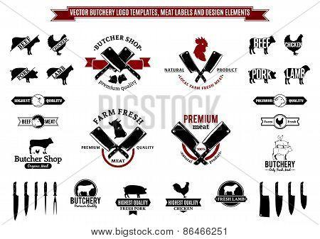 Vector Butchery Labels and Design Elements