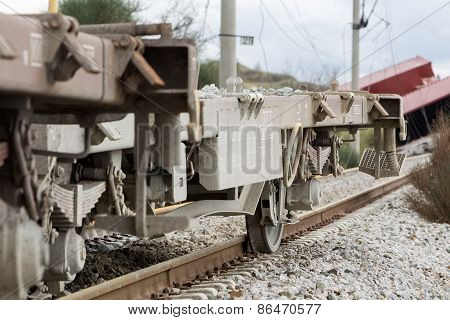 Derailed Train Coaches At The Site Of A Train Accident At The Gefyra Community, In Northern Greece