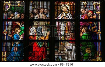 Stained Glass Of Holy Communion In Den Bosch Cathedral