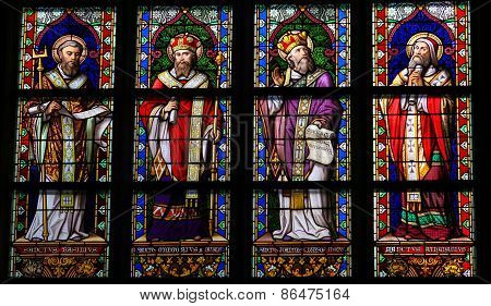 Stained Glass Of Catholic Saints In Den Bosch Cathedral