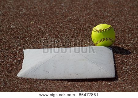 Fair Ball Yellow Fastpitch ball Hits Base