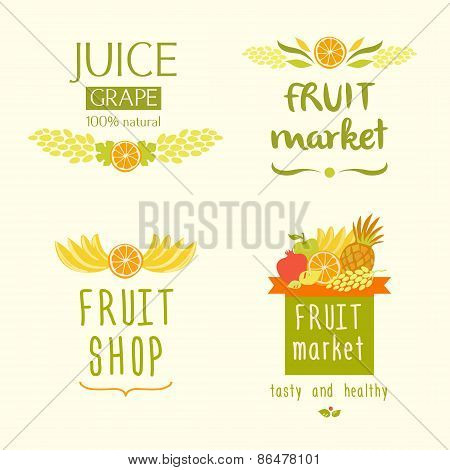 Fruit shop logo. Juise label