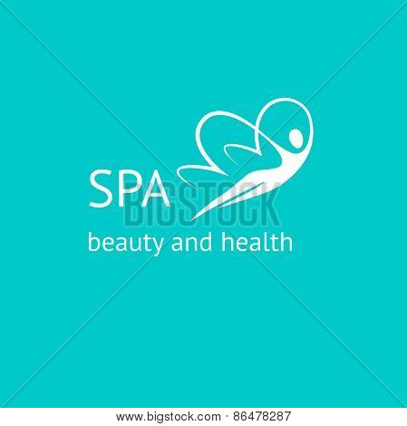 Spa logo. Woman Butterfly